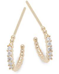 Saks Fifth Avenue - Diamond And 14k Yellow Gold Huggie Earrings - Lyst