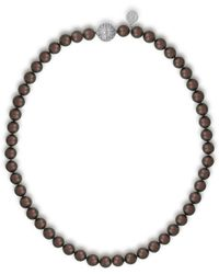 Majorica - 8mm Tahitian Pearl & Crystal Strand Necklace - Lyst