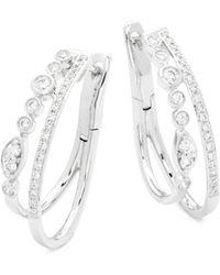 Effy - 14k White Gold And Diamonds Two Hoop Earrings - Lyst
