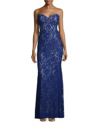 La Femme - Elegant Embroidered Lace Floor-length Gown - Lyst