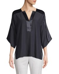 84dd0a9a55f4d Lyst - Elie Tahari Coretta Sheer Insert Silk Blouse in Black