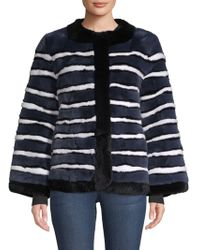 Pologeorgis Striped Rabbit Fur Coat - Blue
