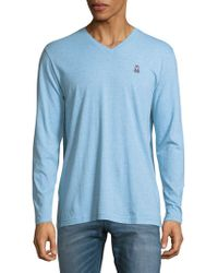 Psycho Bunny | Heathered Cotton Long-sleeve Shirt | Lyst