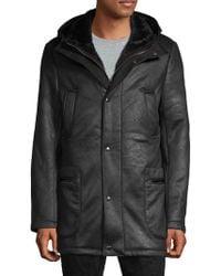 Saks Fifth Avenue Hooded Faux Shearling Coat - Black