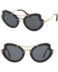 Miu Miu - 52mm Curved Cat Eye Sunglasses - Lyst
