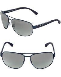 Emporio Armani - Ea2036 64mm Square Aviator Sunglasses - Lyst