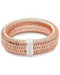 Roberto Coin - Large Diax Rose Gold & Diamond Bracelet - Lyst