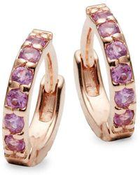 Danni - Pink Sapphire, Diamond And 14k Rose Gold Huggie Earrings - Lyst