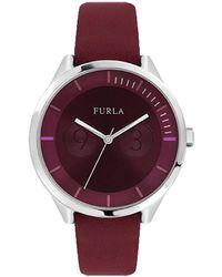 Furla - Metropolis Burgundy Dial Calfskin Leather Watch - Lyst