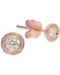 Nephora - Diamond Trend Milgrain 14k Rose Gold & Diamond Stud Earrings - Lyst