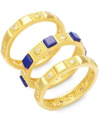 Freida Rothman - Classic Bricked Lapis & 14k Gold-plated Sterling Silver Stacked Rings - Lyst