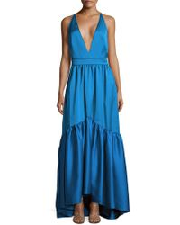 Zac Posen - Solid Ruffled Woven Gown - Lyst