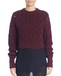 Public School - Cotton Blend Cable Knit Sweater - Lyst