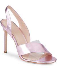 Pour La Victoire - Elly Metallic Leather & Pvc Slingback Sandals - Lyst