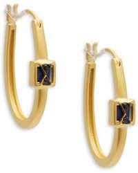 Freida Rothman - Lapis Crisscross Hoop Earrings - Lyst