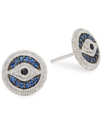 Judith Ripka - La Petite Black Sapphire, Blue Sapphire, & White Topaz Stud Earrings - Lyst