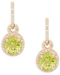 Effy - 14k Yellow Gold, Peridot & Diamond Drop Earrings - Lyst