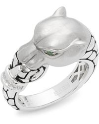 Effy - Diamond & Tsavorite Panther Ring - Lyst