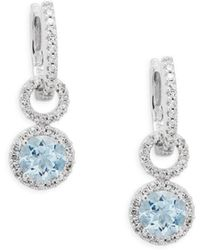 Effy - Diamond, Aquamarine And 14k White Gold Drop Earrings, 0.44 Tcw - Lyst
