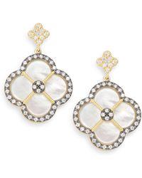 Freida Rothman - Mother-of-pearl & 14k Yellow Gold Vermeil Clover Drop Earrings - Lyst