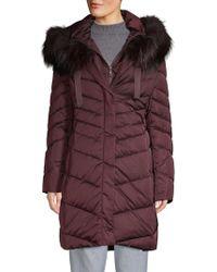 T Tahari - Jolene Fox Fur Trim Longline Parka - Lyst