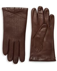 Portolano - Crisscross Embroidered Leather Gloves - Lyst