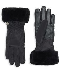 UGG - Shearling Cuffed Leather Tech Gloves - Lyst