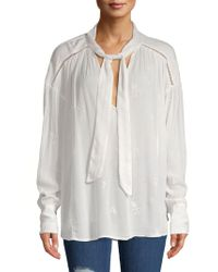 Free People - Embroidered Bohemian Tie-neck Blouse - Lyst