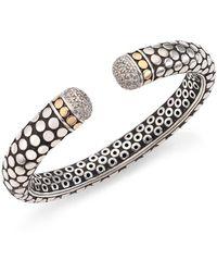 John Hardy - Dot Diamond, 18k Yellow Gold & Sterling Silver Kick Cuff Bracelet - Lyst