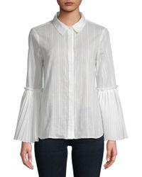 BCBGMAXAZRIA - Striped Woven Cotton Top - Lyst
