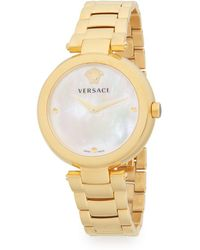 Versace - Yellow Gold Plated Watch - Lyst
