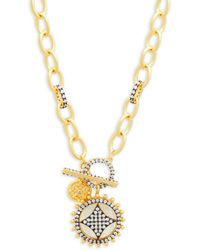 Freida Rothman - Mother-of-pearl, Crystal And Sterling Silver Wheel Cage Pendant Necklace - Lyst