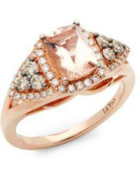 Le Vian - 14k Strawberry Peach Morganite Vanilla Diamonds And Chocolate Diamonds Square Chocolatier Ring - Lyst