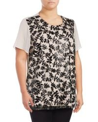 Chaus New York | Short Sleeve Sequined Embroidered Blouse | Lyst