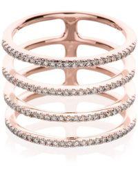 EF Collection - Diamond & 14k Rose Gold Multi Spiral Midi Ring - Lyst