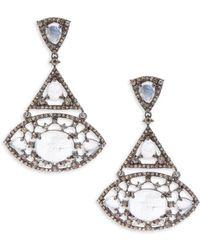 Bavna - Rainbow Moonstone & Sterling Silver Drop Earrings - Lyst