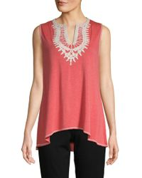 Max Studio - Embroidered Sleeveless Top - Lyst