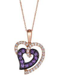 Le Vian - Heart 14k Strawberry Gold, Grape Amethyst & Vanilla Sapphire Pendant Necklace - Lyst