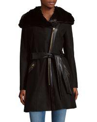 Via Spiga - Faux Fur-trimmed Hooded Coat - Lyst