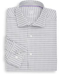 Bugatchi - Shaped-fit Mini Plaid Cotton Dress Shirt - Lyst