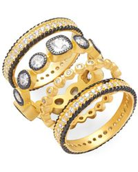 Freida Rothman - Classic Cz & 14k Yellow Gold-plated Sterling Silver Eternity Ring- Set Of 5 - Lyst