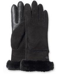 UGG - Exposed Slim Sheepskin-trimmed Leather Gloves - Lyst