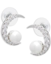 CZ by Kenneth Jay Lane - Cubic Zirconia & Shell Pearl Moon Earrings - Lyst