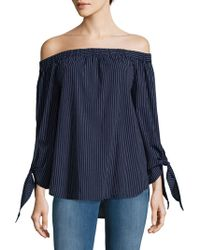 Beach Lunch Lounge - Stripe Off The Shoulder Cotton Blouse - Lyst
