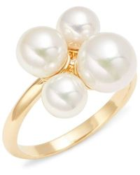 Majorica - Sterling Silver & 6-8mm White Faux Pearl Ring - Lyst