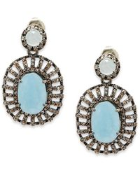 Bavna - Aquamarine, Champagne Diamond & Sterling Silver Drop Earrings - Lyst