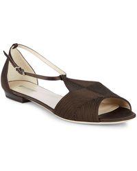 Giorgio Armani - Stitched Leather Ankle Strap Flats - Lyst