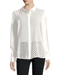 T Tahari - Helene Eyelet Shirt - Lyst