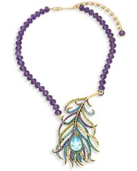Heidi Daus - Beaded Crystal Feather Pendant Necklace - Lyst