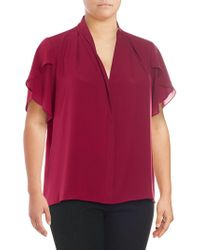 Calvin Klein - Plus Short-sleeve Ruffled Top - Lyst